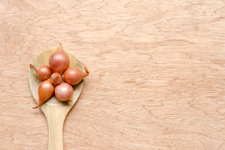 alliaceae: shallot on wooden spoon and wood texture background