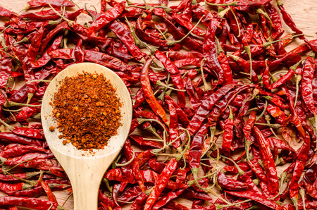 pepper flakes: red dried chili pepper and chili flakes on wooden spoon