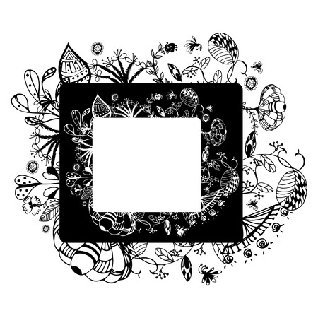 free illustration: flower frame on white background