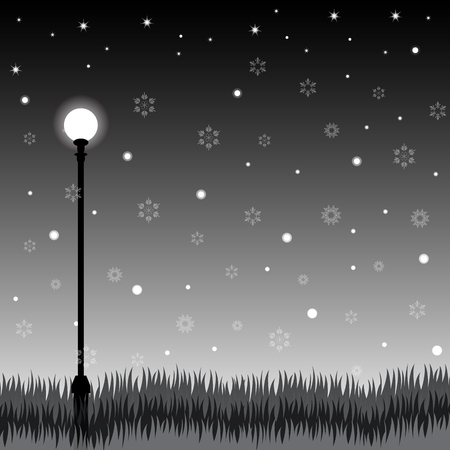 black light: illustrator of lamp and grass at night scene