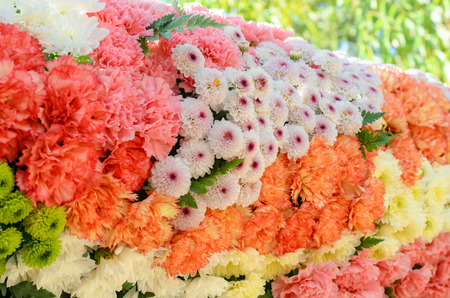 outdoor event: flower decoration on backdrops wall in outdoor event