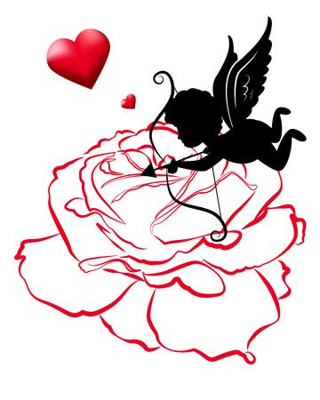 engel tattoo: Linie von Rose und Amor Vektor-Karte Entwürfe für Valentinstag