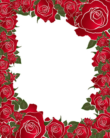 red rose: red rose frame illustration Stock Photo