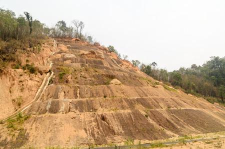 land slide: Soil erosion surface,landslide on mountain in Thailand