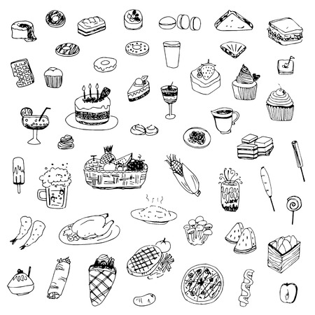 buns: food and drink sketch drawing vector Illustration