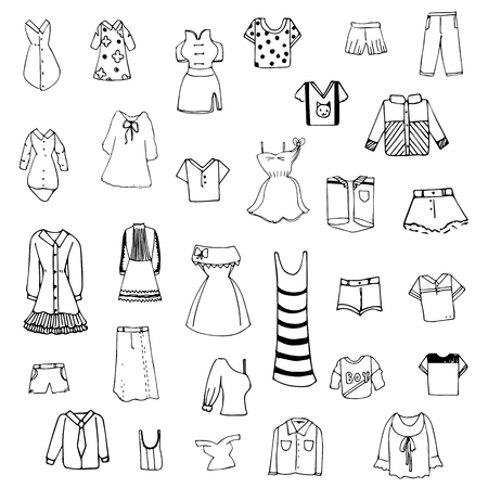 girl shirt: clothes sketch vector set of free hand drawing