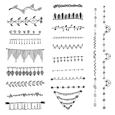 free hand: Ornamental lines and stripes doodle of free hand drawing sketch vector