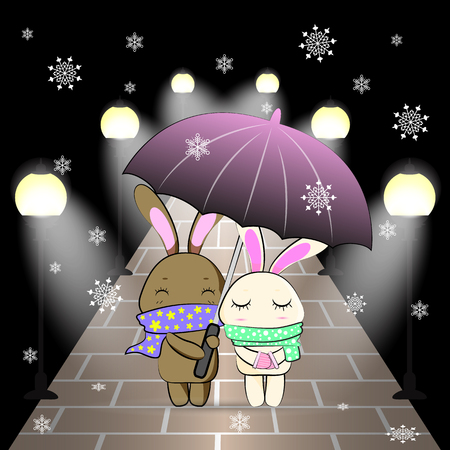 winter night: love bunny couple open an umbrella in the winter night and snow vector illustration Illustration