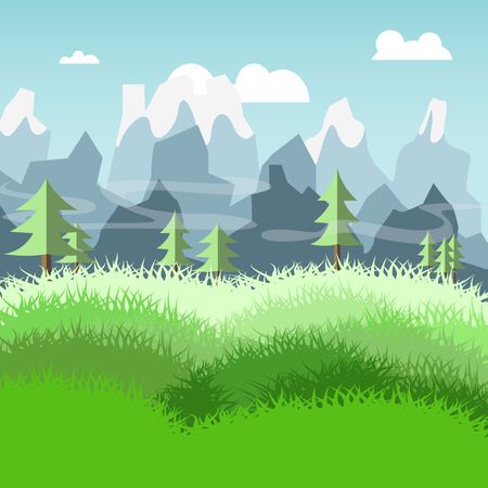 mountain meadow: nature landscape of meadow and pine trees mountain vector