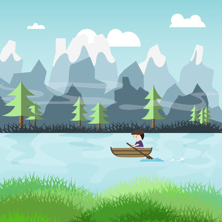 surf vector: cartoon people paddle on the river with nature landscape illustration vector Illustration
