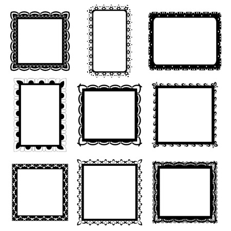 decorative pattern: Set of ornate black picture frames isolated on white