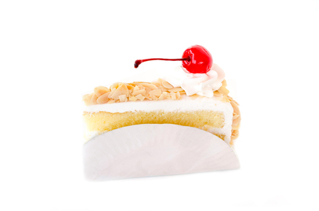 layer cake: Piece of layer cake on white background Stock Photo