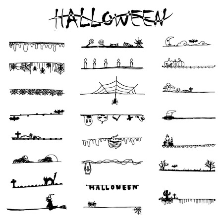 free hand: Halloween doodle black lines and stripes from free hand drawing sketch vector Illustration
