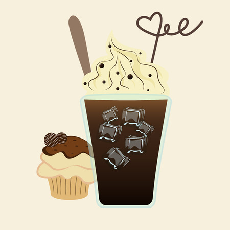 iced: Vector of iced drink covered with whipped cream and cupcake