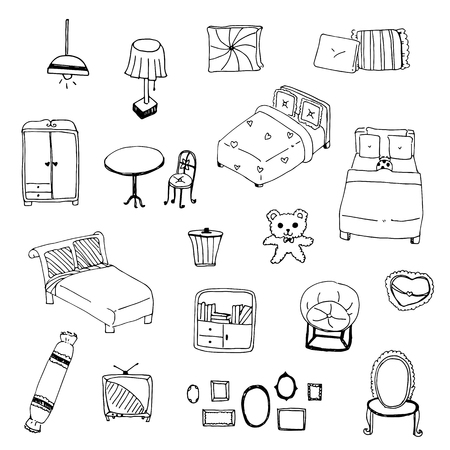 bolster: illustration. vector of freehand drawing sketch outline bedroom Illustration
