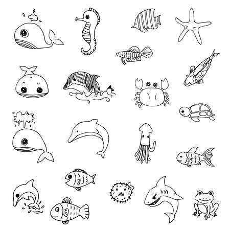 vettore animali acquatici disegnato