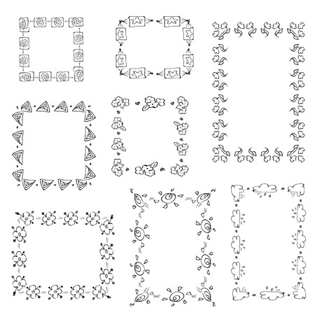 free hand: Set of ornate black picture frames isolated on white,free hand drawing of picture frame vector illustration on white isolated