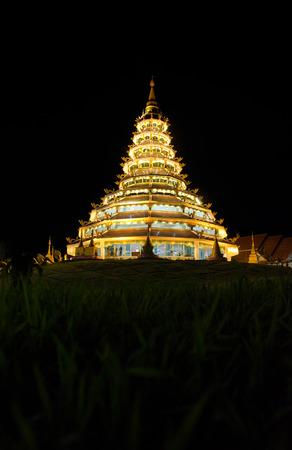pla: Wat huay pla kang at night in Chiang Rai Thailand,beautiful of temple in Thailand