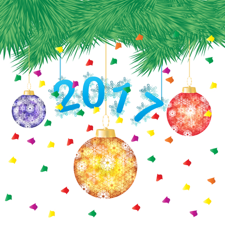 two thousand: vector illustration of a green pine tree or Christmas tree with hanging Christmas ball on white background,Happy New Year two thousand and seventeen Illustration