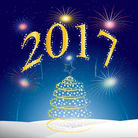Xmas night with a Christmas tree and fireworks vector background,Happy New Year two thousand and seventeen Illustration