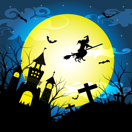 graves: Halloween night with silhouette dry tree, old witch, castle, graves and bats vector illustration background