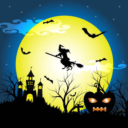 spook: Halloween night with silhouette dry tree, old witch, castle, pumpkin and bats vector illustration background Illustration