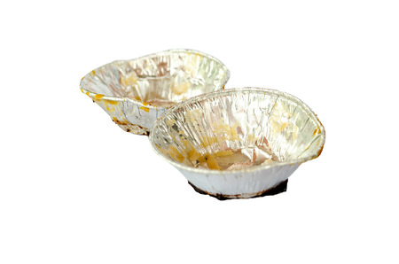 Dirty used foil tray isolated on white Stock Photo