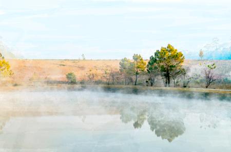pittura ad acquerello digitale della natura mattina