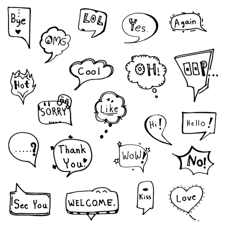 set of speech bubble doodle drawn in black outline vector  イラスト・ベクター素材