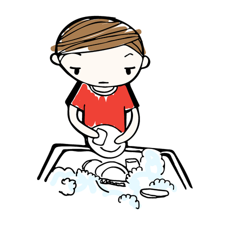 wash dishes: vector of cartoon boy wash dishes in sink