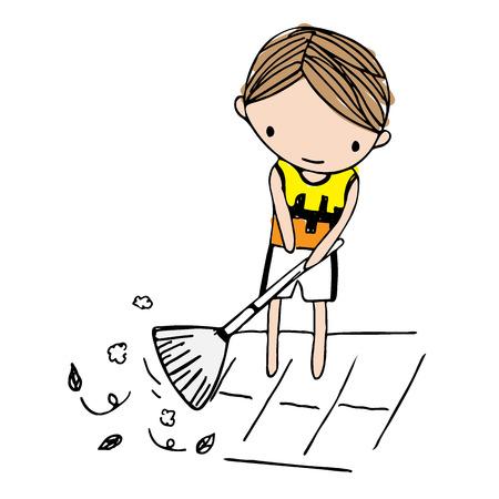 Vector of cartoon boy sweeping leaves on floor