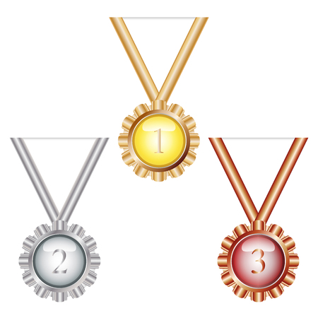 Gold medal,Silver medal and Bronze medal vector on white background