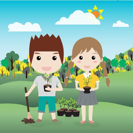 children planting a tree vector illustration