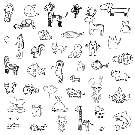 set of drawing doodle of cute animal in black line on a white background Ilustração