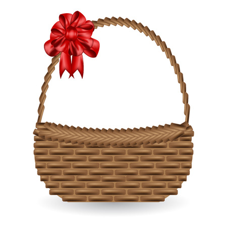 vector of gift basket and adorn bow ribbon