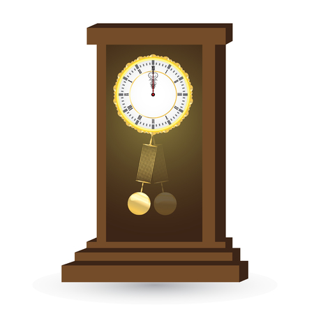 reloj de pendulo: ilustración vectorial de edad, antiguo reloj de péndulo Vectores