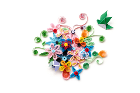 quilling paper flower designs isolated on white