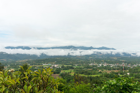 valley view: Top view landscape on rainy season of Pai city in Thailand