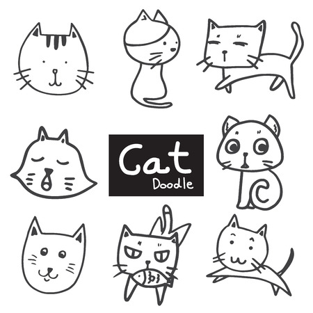 set of drawing cute cat in doodle black line on white background