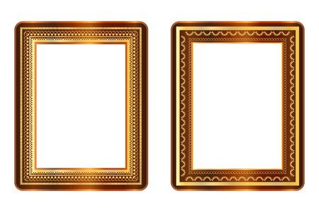 gold und braun Bilderrahmen Vektor auf weißem Hintergrund
