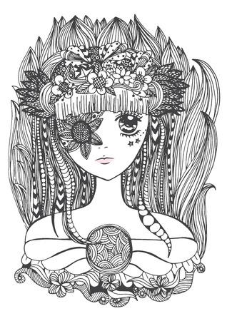 vecteur doodle de belle jeune femme avec des fleurs. contour noir et blanc pour la coloration