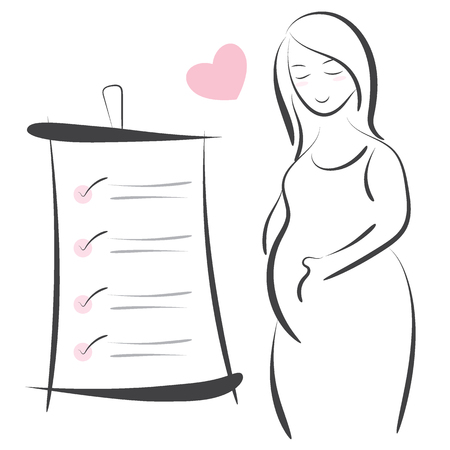 Pregnant woman line vector illustration, Maternity symbol designs Illustration