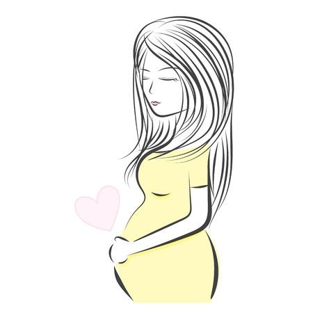 maternal: Pregnant woman line vector illustration, Maternity symbol designs Illustration