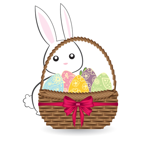 Easter eggs in basket with white cute bunny Illustration