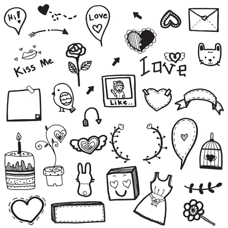 enthusiasm: Cute doodle drawing vector set of love concept element on white background