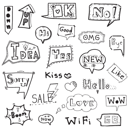 Collection of speech bubble with words hand drawn doodle vector illustration