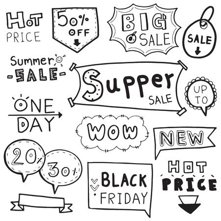 vector set of hand drawn doodle sale. Illustration
