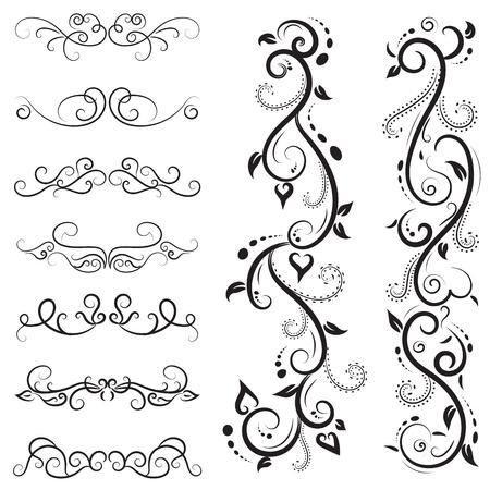 vector illustration set of border calligraphic and dividers decorative Illustration