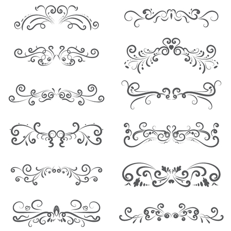 vector illustration set of border calligraphic and dividers decorative.