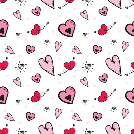 seamless heart doodle pattern vector